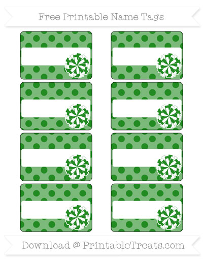 Free Forest Green Polka Dot Cheer Pom Pom Tags