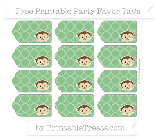 Free Forest Green Quatrefoil Pattern Boy Monkey Party Favor Tags
