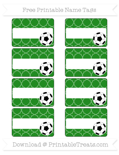Free Forest Green Quatrefoil Pattern Soccer Name Tags