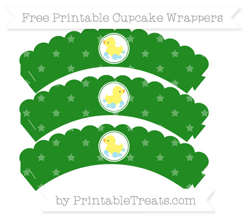Free Forest Green Star Pattern Baby Duck Scalloped Cupcake Wrappers