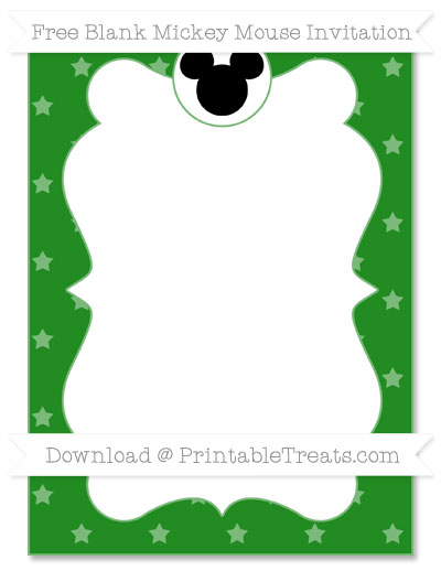 Free Forest Green Star Pattern Blank Mickey Mouse Invitation