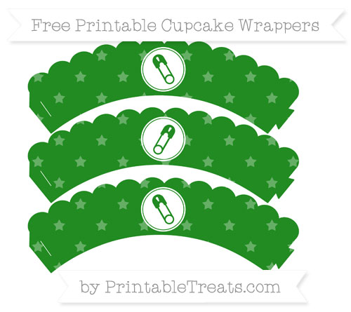Free Forest Green Star Pattern Diaper Pin Scalloped Cupcake Wrappers
