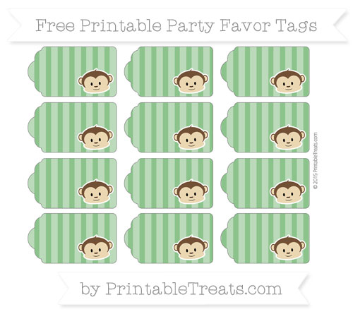 Free Forest Green Striped Boy Monkey Party Favor Tags