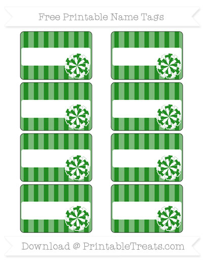 Free Forest Green Striped Cheer Pom Pom Tags