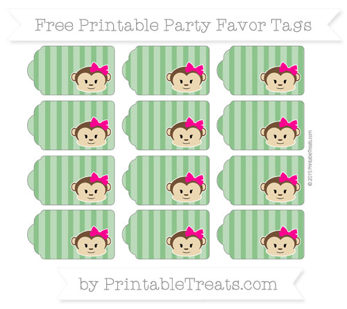 Free Forest Green Striped Girl Monkey Party Favor Tags