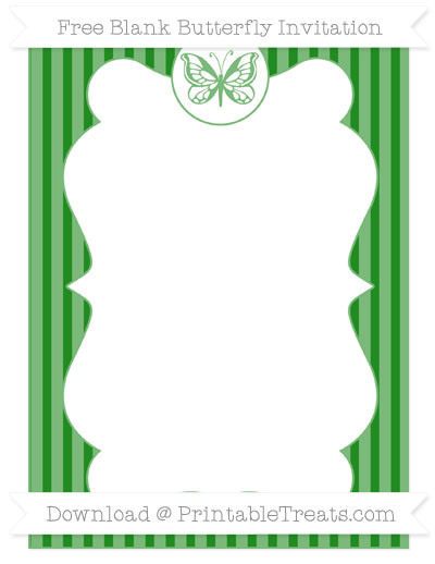 Free Forest Green Thin Striped Pattern Blank Butterfly Invitation