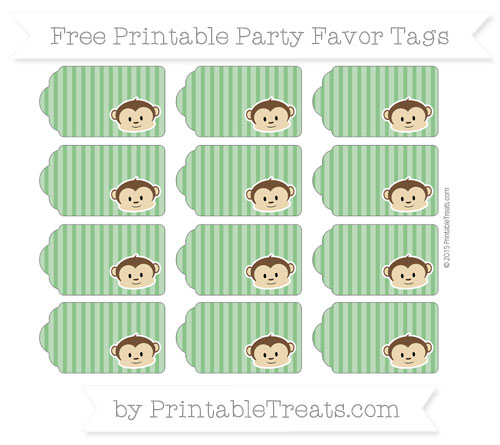 Free Forest Green Thin Striped Pattern Boy Monkey Party Favor Tags