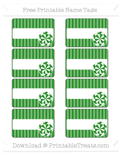 Free Forest Green Thin Striped Pattern Cheer Pom Pom Tags