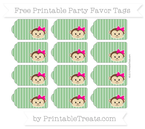 Free Forest Green Thin Striped Pattern Girl Monkey Party Favor Tags