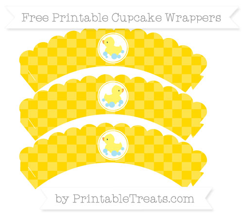 Free Gold Checker Pattern Baby Duck Scalloped Cupcake Wrappers