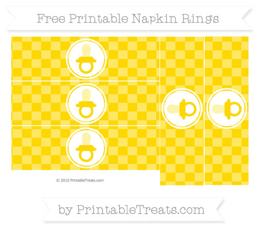 Free Gold Checker Pattern Baby Pacifier Napkin Rings