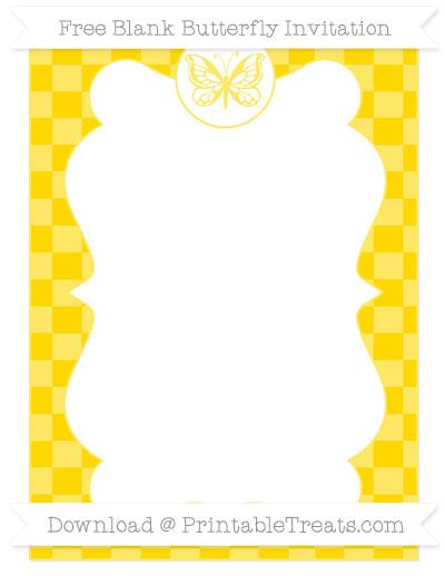 Free Gold Checker Pattern Blank Butterfly Invitation