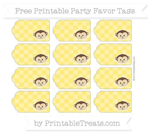Free Gold Checker Pattern Boy Monkey Party Favor Tags