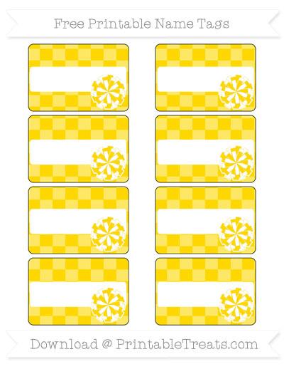 Free Gold Checker Pattern Cheer Pom Pom Tags