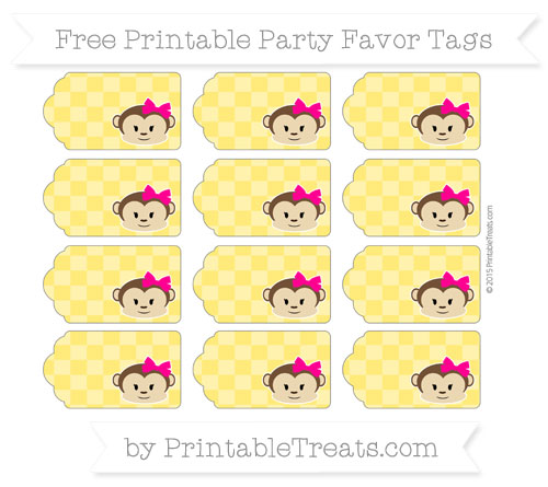 Free Gold Checker Pattern Girl Monkey Party Favor Tags