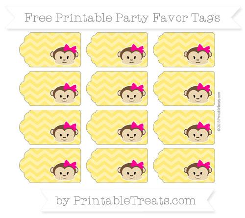 Free Gold Chevron Girl Monkey Party Favor Tags