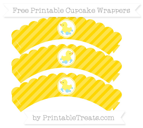Free Gold Diagonal Striped Baby Duck Scalloped Cupcake Wrappers
