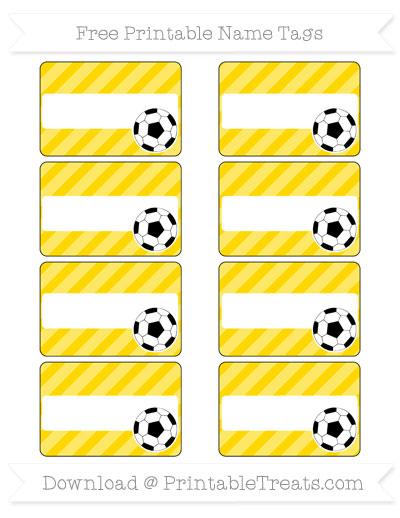 Free Gold Diagonal Striped Soccer Name Tags