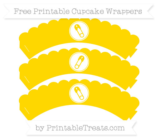 Free Gold Diaper Pin Scalloped Cupcake Wrappers