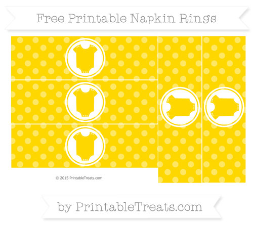 Free Gold Dotted Pattern Baby Onesie Napkin Rings