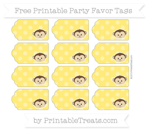 Free Gold Dotted Pattern Boy Monkey Party Favor Tags