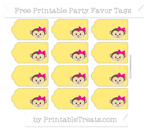 Free Gold Girl Monkey Party Favor Tags