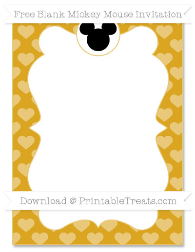 Free Gold Heart Pattern Blank Mickey Mouse Invitation
