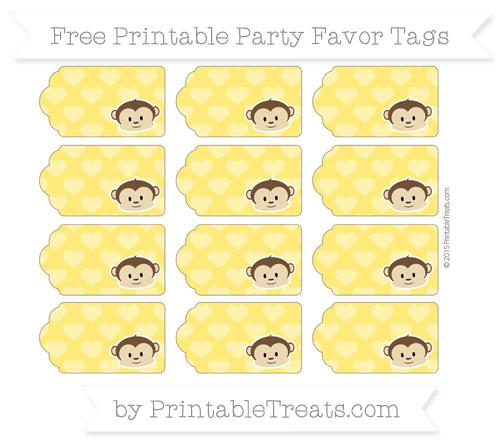 Free Gold Heart Pattern Boy Monkey Party Favor Tags