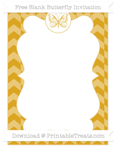 Free Gold Herringbone Pattern Blank Butterfly Invitation