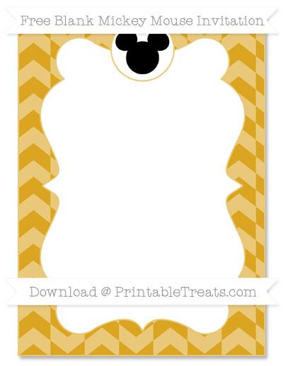 Free Gold Herringbone Pattern Blank Mickey Mouse Invitation