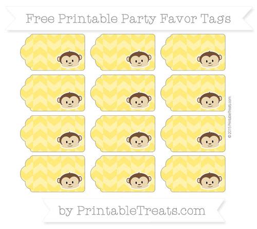Free Gold Herringbone Pattern Boy Monkey Party Favor Tags