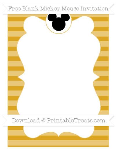 Free Gold Horizontal Striped Blank Mickey Mouse Invitation