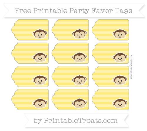 Free Gold Horizontal Striped Boy Monkey Party Favor Tags