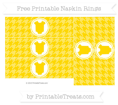 Free Gold Houndstooth Pattern Baby Onesie Napkin Rings