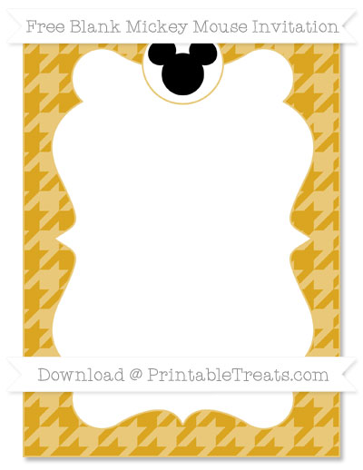 Free Gold Houndstooth Pattern Blank Mickey Mouse Invitation