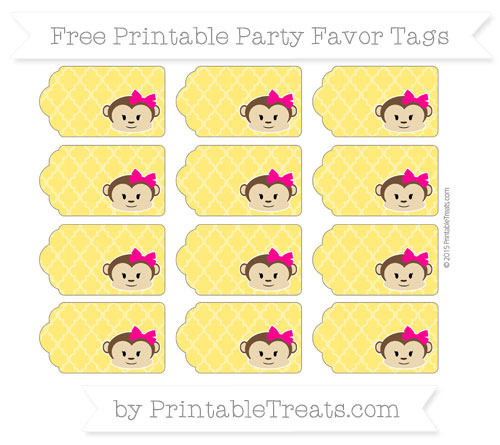 Free Gold Moroccan Tile Girl Monkey Party Favor Tags