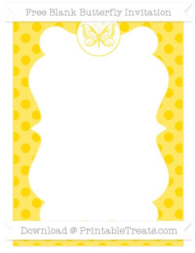 Free Gold Polka Dot Blank Butterfly Invitation