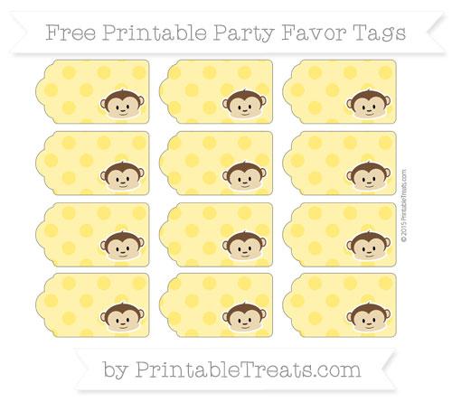Free Gold Polka Dot Boy Monkey Party Favor Tags
