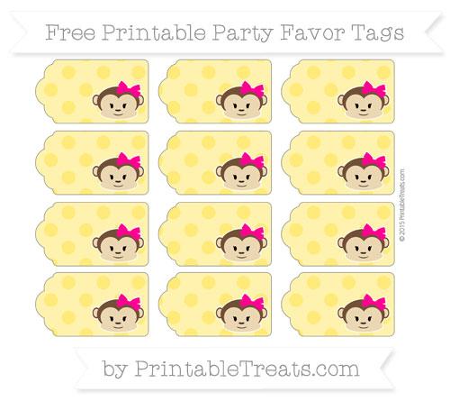 Free Gold Polka Dot Girl Monkey Party Favor Tags