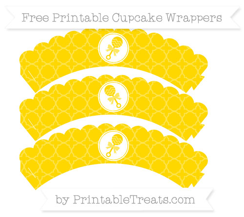 Free Gold Quatrefoil Pattern Baby Rattle Scalloped Cupcake Wrappers