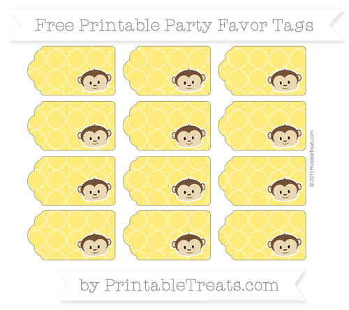 Free Gold Quatrefoil Pattern Boy Monkey Party Favor Tags