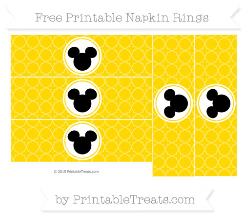 Free Gold Quatrefoil Pattern Mickey Mouse Napkin Rings