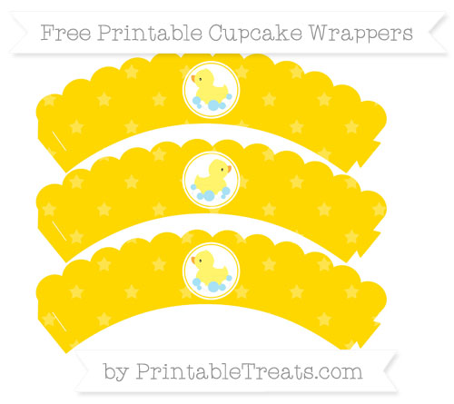 Free Gold Star Pattern Baby Duck Scalloped Cupcake Wrappers