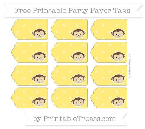 Free Gold Star Pattern Boy Monkey Party Favor Tags