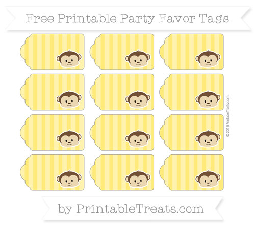 Free Gold Striped Boy Monkey Party Favor Tags