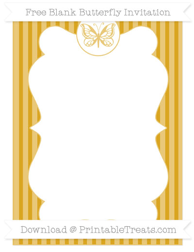 Free Gold Thin Striped Pattern Blank Butterfly Invitation
