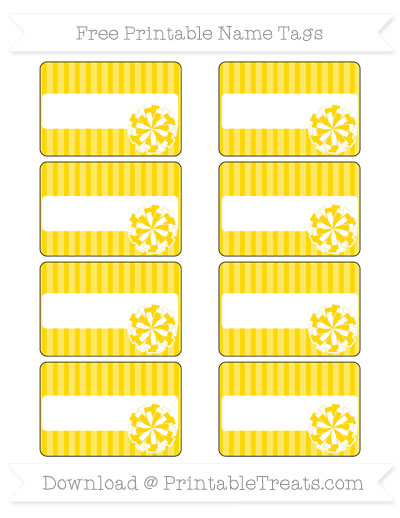 Free Gold Thin Striped Pattern Cheer Pom Pom Tags