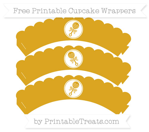 Free Goldenrod Baby Rattle Scalloped Cupcake Wrappers