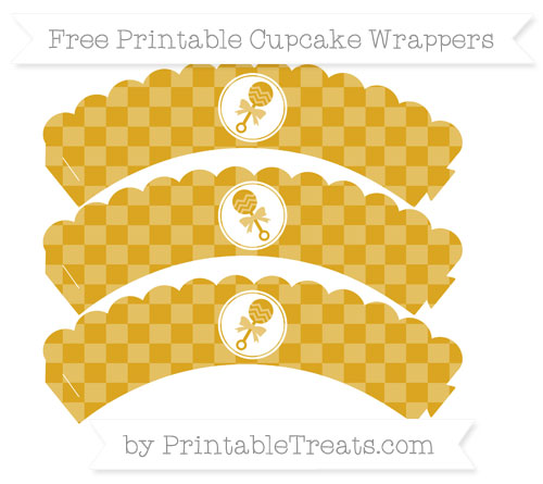 Free Goldenrod Checker Pattern Baby Rattle Scalloped Cupcake Wrappers