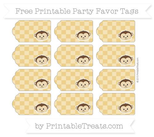 Free Goldenrod Checker Pattern Boy Monkey Party Favor Tags